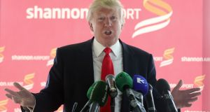 A file image of Donald Trump at Shannon airport during a  visit to his golf course at   Doonbeg  in 2014. Photograph: PA