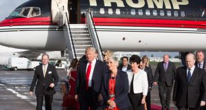 A file image of Donald Trump visiting Shannon in Co Clare in 2014.  Photograph: Sean Curtin