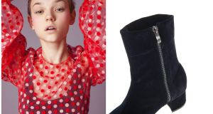 Paskal's red flocked polka dot top, €225, and navy velvet ankle boots from Parfois €39.99.