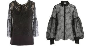 Elie Tahari Calista lace blouse for €352.83, left, and a lace bell sleeve blouse, for €49.95, from H&M.