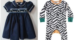 Navy cotton smock by Little Larks, €60, and Slim Jym Pjs, €40, from The Bright Company.