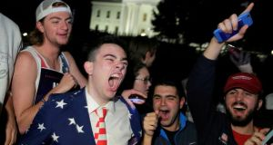 Supporters of Donald Trump rally in front of the White House in Washington. Photograph: Joshua Roberts/Reuters