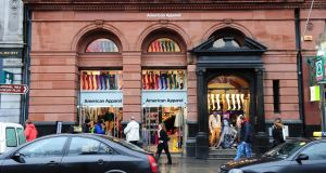 American Apparel on Grafton Street, Dublin, where a liquidator has been appointed. Photograph: Aidan Crawley