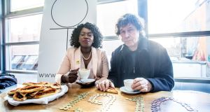 Ellie Kisyombe with actor Stephen Rea who was Our Table's first customer. Photograph: Allen Kiely
