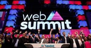 Paddy Cosgrove (centre, right), founder and CEO of Web Summit, and other participants during the   Nasdaq bell opening ceremony on the second day of the summit in Lisbon, Portugal. Photograph: Andre Kosters
