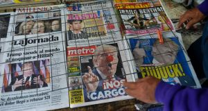 A rack of newspapers in Mexico City with headlines about  the  triumph of Donald Trump. Photograph: AFP/Getty Images