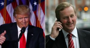 Enda Kenny had a 10-minute phone call with president-elect Donald Trump on Wednesday. Photograph: Composite/New York Times/Eric Luke