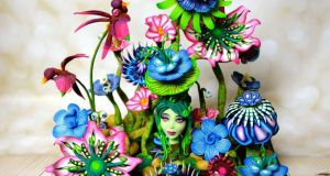 Detail from Irish competitor Anjali Tambde's decorative flowers cake topper that was voted Best in Show at Cake International