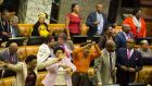 Members of the ruling  African National Congress sing and dance during a motion of no confidence in president Jacob Zuma  in the parliament in Cape Town on Thursday. Photograph: Nic Bothma