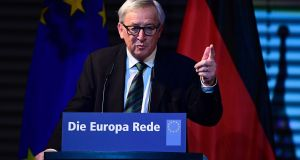 "European Commission president Jean-Claude Juncker told a Berlin audience that the United States ""won't look after Europe's security for ever"". Photograph:  Tobias Schwarz/AFP/Getty Images"