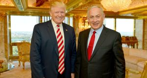 Israeli prime minister Binyamin Netanyahu stands next to US president-elect Donald Trump during their meeting in New York in September. Photograph: Reuters