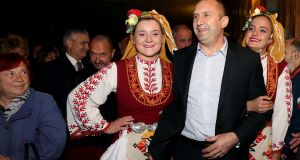 Pro-Russian presidential candidate General Rumen Radev,  of the Bulgarian Socialist Party, meets supporters during an election rally in Karlovo. Photograph: Peter Ganev/Reuters