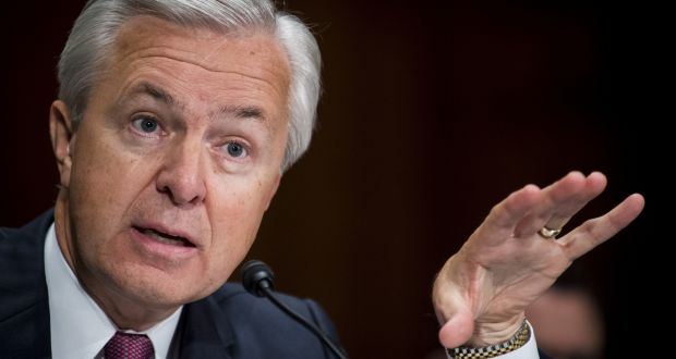 John Stumpf, chief executive officer of Wells Fargo & Co, testifies before the US  Senate committee on banking, housing, and urban Affairs in Washington DC, in September.  Photograph: Pete Marovich/Bloomberg