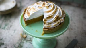 Spiced pumpkin pie with a torched meringue topping. Photograph: Donal Skehan