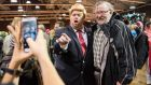 Here's a man bound to find extensive work opportunities over the next four years: Donald Trump impersonator Eric Jackman, here at work at a Trump campaign rally  in Manchester, New Hampshire. File photograph: Ryan McBride/AFP/Getty Images