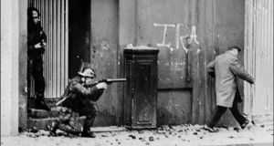 Disputed legacy: British  soldiers patrol the Bogside, Derry, in   November 1971. Photograph:  Darde/AFP/Getty