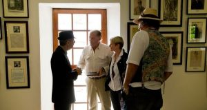 Leonard Cohen with Eddie Walsh and Constance Cassidy at the opening of the Yeats Gallery at  Lissadell in 2010