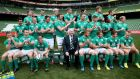 Ireland players applaud as Peter O'Mahony arrives late for team photograph at the Captain's Run on Friday. Photograph: Dan Sheridan/Inpho