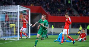 James McClean celebrates after scoring the Republic of Ireland's first goal in the World Cup qualifier against Austria   at the Ernst-Happel-Stadion in Vienna. Photograph: John Walton/PA Wire