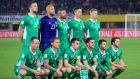 The Ireland team line up before their 1-0 win over Austria in their 2018 World Cup qualifier in Vienna. Photo: John Walton/PA