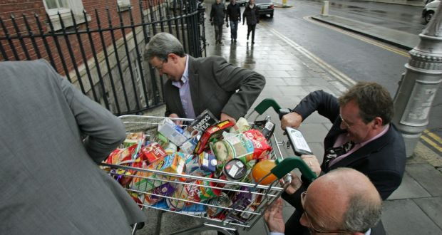 Members take a trolley of food back into the Merrion Hotel after the launch in Dublin in 2009 of the Love Irish Food organisation, established to promote Irish food and drink brands to consumers. Photograph: Frank Miller