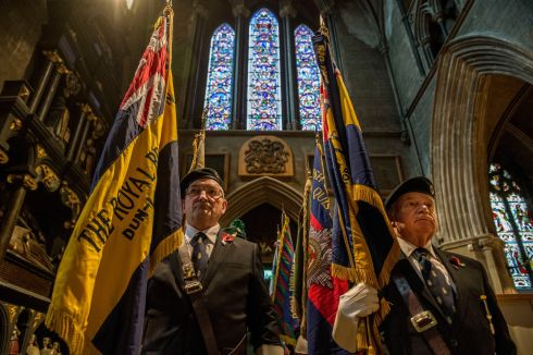 STANDARD BEARERS: Geoff Barry and Ken Doyle, Royal British Legion members, during Remembrance Sunday at St Patrick's Cathedral, Dublin. Photograph: Dara Mac Dónaill/The Irish Times