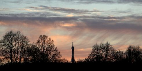 DAY IS DONE: The sun sets behind the Petrin lookout tower in Prague, Czech Republic. Photograph: David W Cerny/Reuters