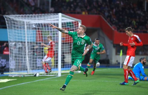 LONE GOAL: Republic of Ireland's James McClean celebrates scoring his side's first goal against Austria during the 2018 Fifa World Cup Qualifying  Group D match at the Ernst-Happel-Stadion, Vienna. Ireland won 1-0. Photograph: John Walton/PA Wire