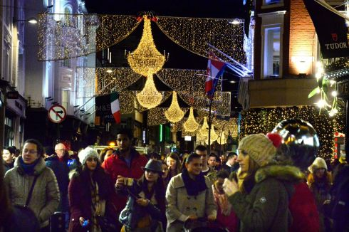 GRACEFUL GRAFTON: A look down Grafton Street in Dublin as the Christmas lights are switched on. Photograph: Cyril Byrne/The Irish Times