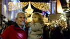 Adrian Fogarty from Dundrum with his granddaughter Lucy Belle Lonergan from Ballsbridge on Grafton Street in Dublin for the Christmas lights switch-on. Photograph: Cyril Byrne/The Irish Times