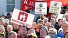 A march and rally held earlier this month in support of Apple's €850 million data centre project for Athenry. Photograph: Joe O'Shaughnessy