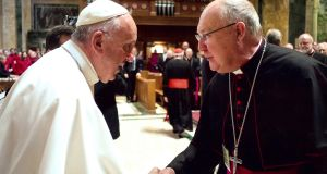 Cardinal-designate: Pope Francis and Kevin Farrell. Photograph courtesy of the diocese of Dallas