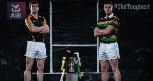 Ballyea talisman Tony Kelly with  Glen Rovers star  Patrick Horgan ahead of the AIB  Munster senior hurling club championship final on Sunday. Photograph:  Stephen McCarthy/Sportsfile