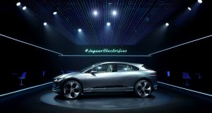 Jaguar's first fully electric vehicle, the Jaguar I-PACE concept car, is revealed for the first time in Los Angeles