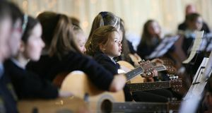 Children taking part in a Music Generation event earlier this year. Photograph: Brian Farrell