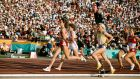 Mary Decker, Zola Budd and Maricica Puica (316) during the controversial Women's 3000 Metres final at the 1984 Olympic Games in Los Angeles. Photo:  Tony Duffy/Getty Images