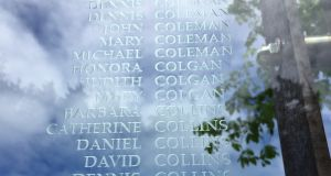 The names of victims at the Grosse Île memorial – a site of Irish pilgrimage