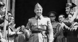 Emilio Mola (fourth from right) walks behind Francisco  Franco at Burgos in 1936. Photograph: Ullstein Bild/Getty Images)