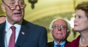 Democratic senators Chuck Schumer, Bernie Sanders and Debbie Stabenow: the party wants  to bridge the gap between the   leadership and key constituencies. Photograph: Al Drago/The New York Times