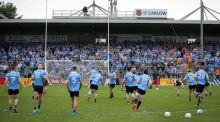 Dublin warm up ahead of their Leinster quarter-final meeting with Laois at Nowlan Park in Kilkenny at the start of June. Photograph: Ryan Byrne/Inpho