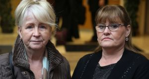 Philomena Smyth (left) and Philomena McKee, aunt and sister respectively of the late Kevin McKee,  arrive at the Coroner's Court in Dublin, where an inquest was held into his death. Photograph: Brian Lawless/PA Wire