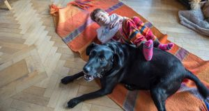 Siobhan with her family dog Charlie at their home in Fethard-on-Sea. Photograph: Brenda Fitzsimons