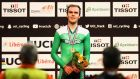 Ireland's Mark Downey  celebrates winning the gold medal in the men's points race final during the Tissot UCI Track Cycling World Cup 2016-2017 in Apeldoorn, Netherlands. Photograph: Dean Mouhtaropoulos/Getty Images