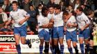 Andy Woodward, middle, celebrates with his Bury team-mates after a goal against Brentford in March 1997. Photograph: Matt Risby/Action Images