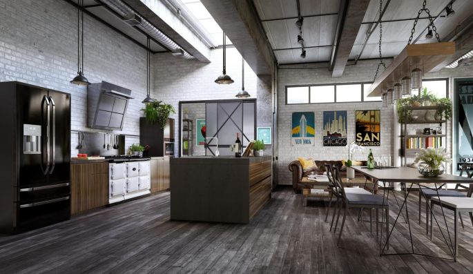 In An Industrial Setting Like This, There Is Plenty Of Room For Smart  Kitchen Cabinetry
