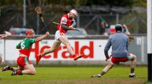 Cuala's Con O'Callaghan fires home one of his four goals in the victory over  Laois champions Borris-Kilcotton at Parnell Park. Photograph: Colm O'Neill/Inpho