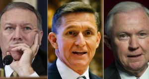 Three new Trump appointments: US Representative from Kansas Mike Pompeo, retired Lt Gen Michael Flynn, and Senator Jeff Sessions. Composite: AFP/Getty Images
