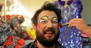 The eyes have it: Patrick Freyne dressing as a panto dame at the Tivoli Theatre. Photograph: Eric Luke