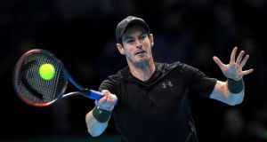 Andy Murray during his match with Stan Wawrinka in the Barclays ATP World Tour Finals at The O2, London. Photograph: Adam Davy/PA