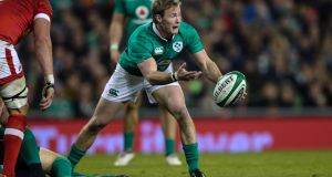 Ireland's Kieran Marmion. Marmion is  said to be  a nickname from the Old French 'marmion', meaning 'monkey' or 'brat' – both good qualities in a scrum-half. Photograph: Billy Stickland/Inpho